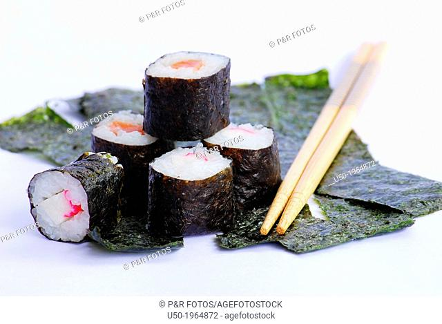 Sushi, dish made from marine red algae Porphyra sp