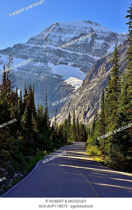 Mount Edith Cavel at the end of a mountain two lane road in Jasper National Park, Alberta Canada