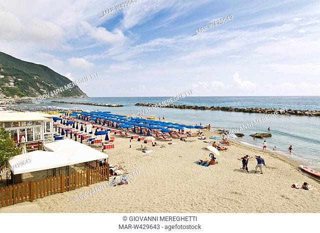 spiaggia, moneglia, liguria, italia