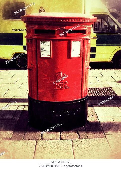 Red post box York North Yorkshire England UK United Kingdom GB Great Britain