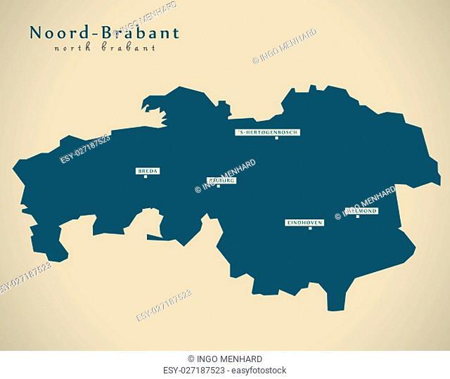 Modern Map - Noord Brabant NL illustration