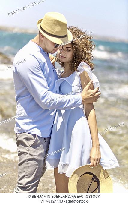 couple at beach, lovers, holidays, summer, sunny