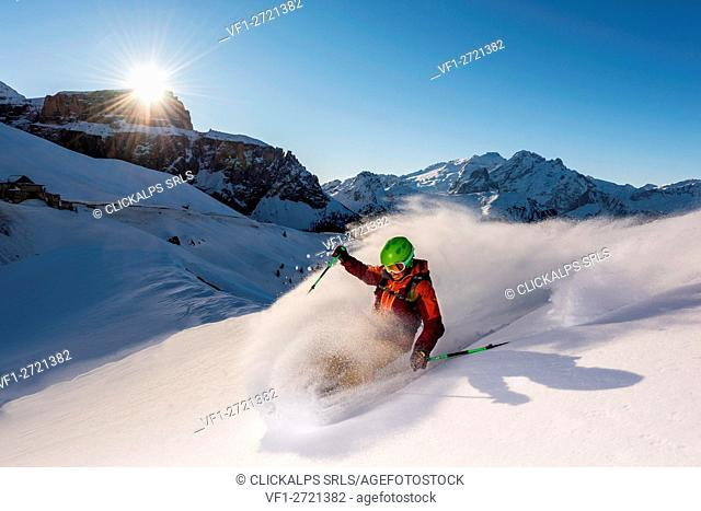 Europe,Italy,Trentino,Dolomites,Fassa Valley,Sella Pass