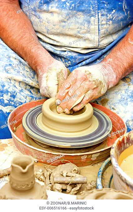 Making of clay pot