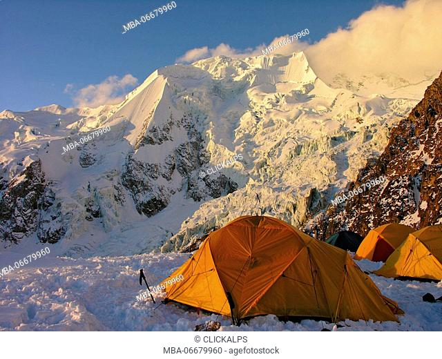 Tents on llimani High Camp, Andes, Bolivia