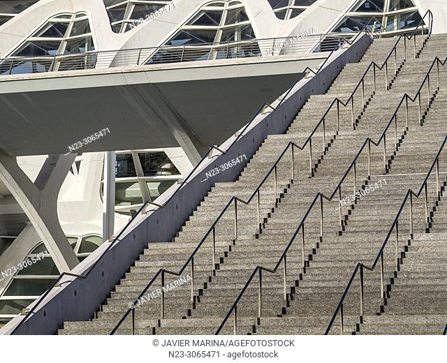 Stairs in the city of arts and sciences, Valencia, Spain