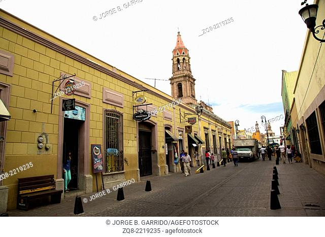 Colorfull street at aguascalientes downtown, mexico