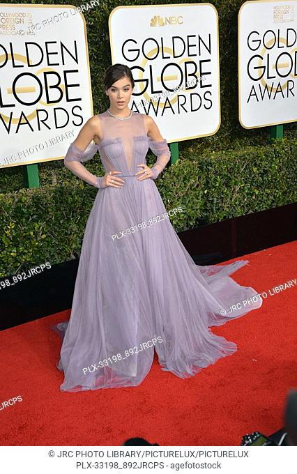 Hailee Steinfeld at the 74th Golden Globe Awards at The Beverly Hilton Hotel, Los Angeles, CA , USA , January 8, 2017