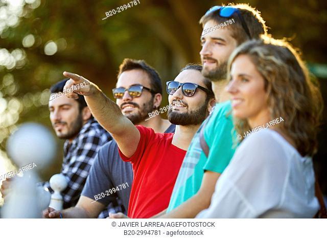 Group of tourists and guide making a tour of the city, Climb to Mount Urgull, Donostia, San Sebastian, Gipuzkoa, Basque Country, Spain, Europe