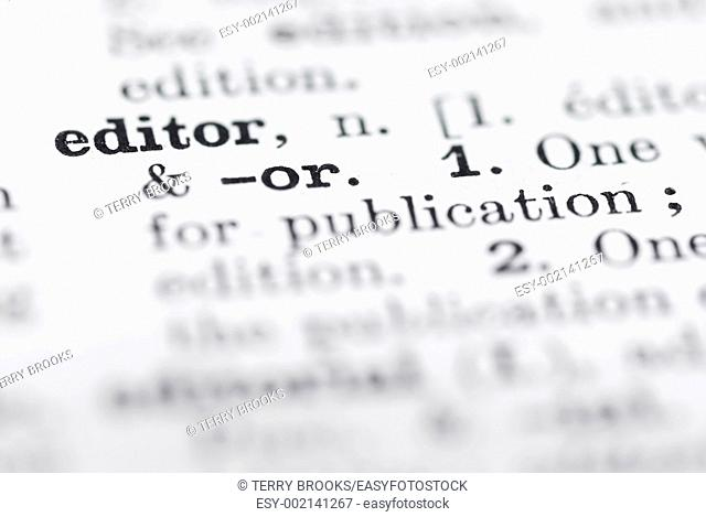 Shallow DOF, focus on Editor in English Dictionary