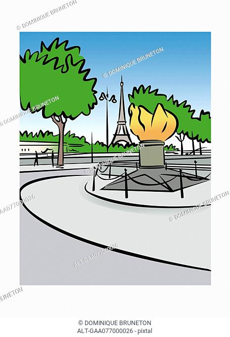 Illustration of the Flame of Liberty in Paris, France