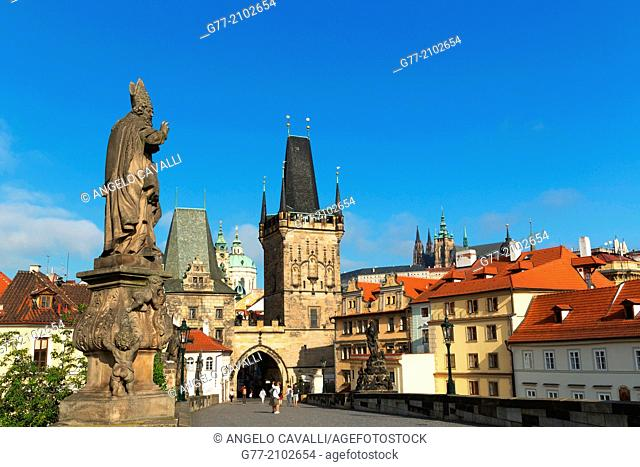 Czech Republic. Prague. The Old Town. Statue on Charles Bridge