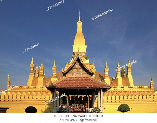Laos, Vientiane, Pha That Luang, buddhist stupa, national monument,
