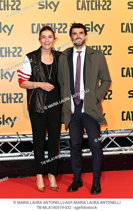 Anna Foglietta with husband Paolo Sopranzetti during the Red carpet for the Premiere of film tv Catch-22, Rome, ITALY-13-05-2019