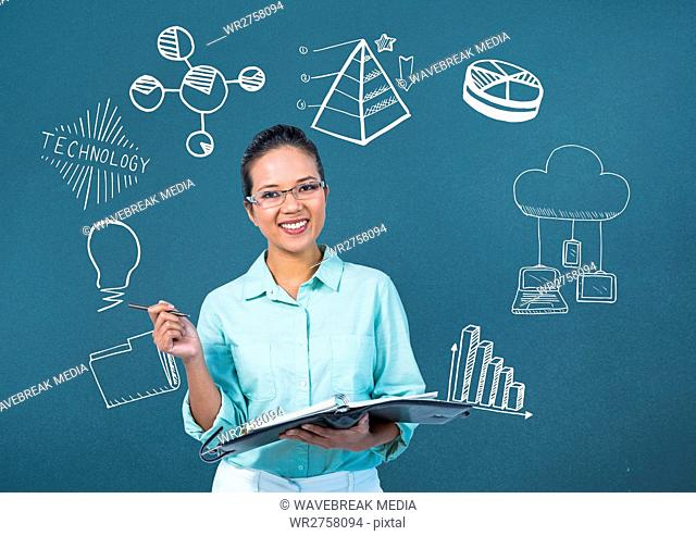 Woman with charts and technology graphics drawings
