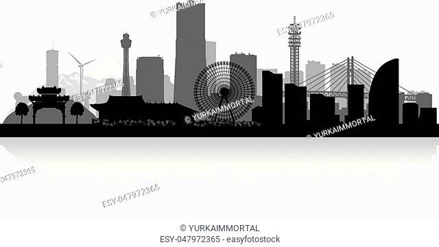 Yokohama Japan city skyline vector silhouette illustration