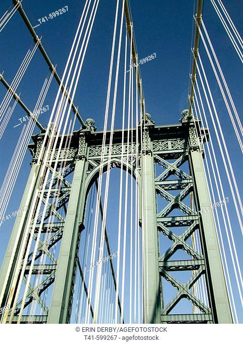 Driving on the Brooklyn Bridge from Brooklyn to Manhattan. New York City. USA