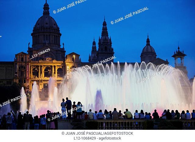 Palau Nacional and Magic fountain at Montjuich, Barcelona, Catalonia, Spain