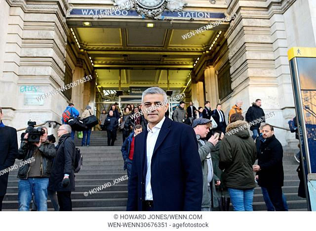 London's Mayor Sadiq Khan visits Waterloo Station protesting against the rise of national rail fares and calls on the government to implement a fares freeze...