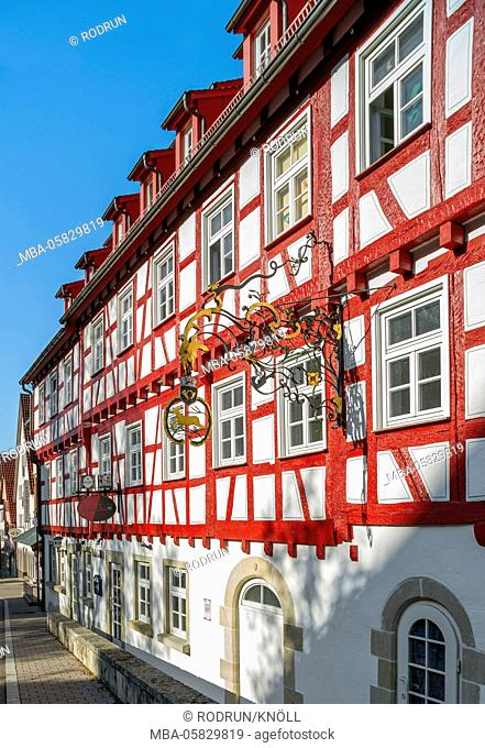 Germany, Baden-Wurttemberg, Münsingen, half-timbered house, old post, sign, inn, postal station, in 1985 the building was redeveloped extensively