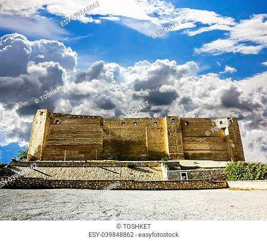 Look at the wall of the castle Kasbah in Sousse Tunisia amid dramatic cloud heaven