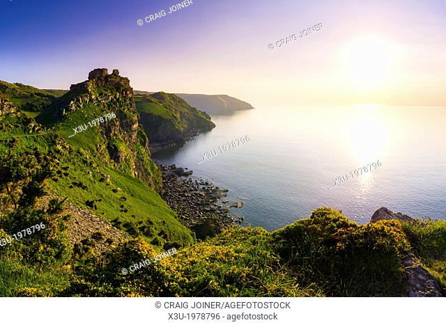 Valley of the Rocks and Wringcliff Bay at sunset in Exmoor National Park near Lynton, Devon, England