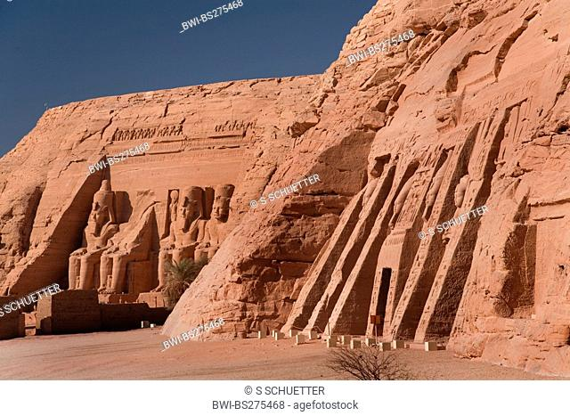 Abu Simbel temples with temple of Hathor and Nefertari, the Small Temple, Egypt, Abu Simbel