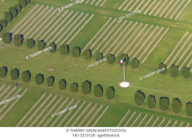 France, Meuse (55), Verdun, WWI battle fields, Douaumont, cemetary (aerial view)