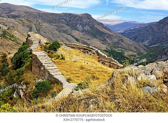 defensive wall of Smbataberd Fortress, located upon the crest of a hill between the villages of Artabuynk and Yeghegis, near Yeghegnadzor, Vayots Dzor province