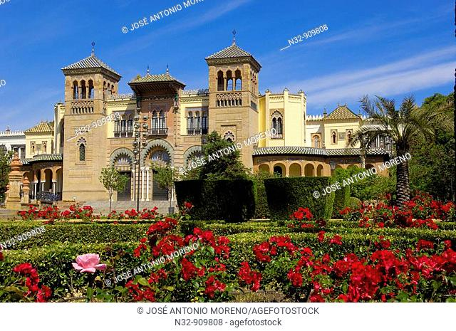 Mudejar Pavilion (now Museum of Arts and Traditions) in Maria Luisa Park, Seville. Andalusia, Spain