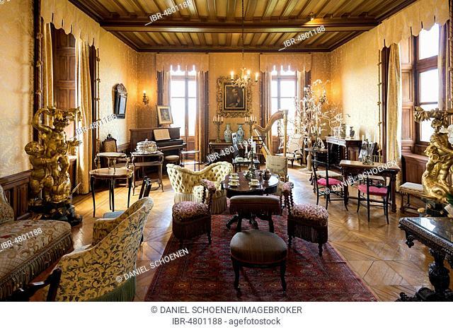 Historical Salon, Chaumont Castle, Château de Chaumont, Chaumont-sur-Loire, Loire, Département Loir-et-Cher, France