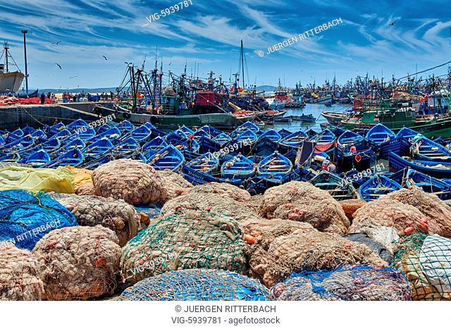MOROCCO, ESSAOUIRA, 27.05.2016, fishing nets and boats in harbor of Essaouira, UNESCO world heritage site, Essaouira, Morocco, Africa - Essaouira, Morocco