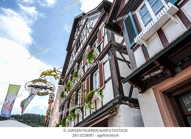 half-timbered houses of the village Wolfach, Black Forest, Germany, Kinzig valley