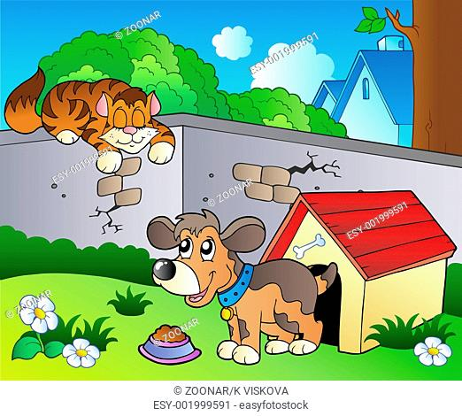 Backyard with cartoon cat and dog - color illustration