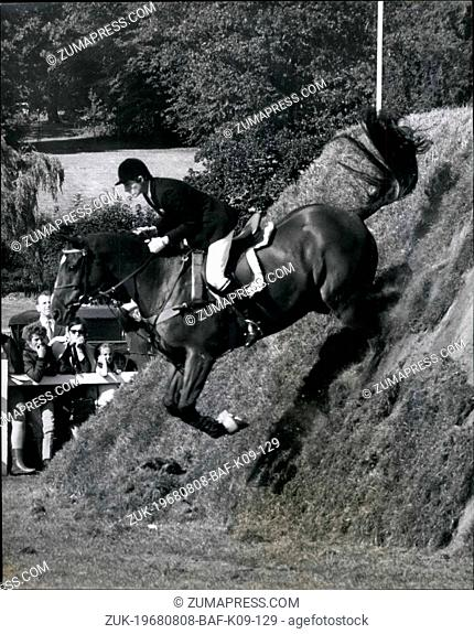 Aug. 08, 1968 - British Jumping Derby At Hickstead. Photo shows Miss Alison Westwood, riding her horse The Maverick - seen during the British Jumping Derby
