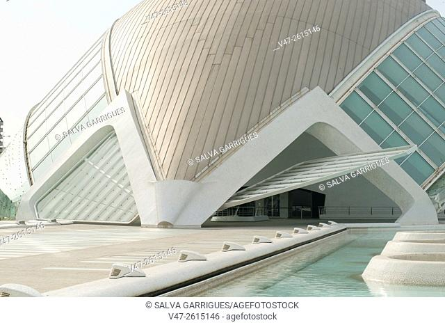 Entrance to the building of L'Hemisfèric, City of Arts and Sciences, Valencia, Spain, Europe