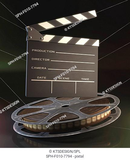 Old fashioned movie reel and clapperboard, computer illustration