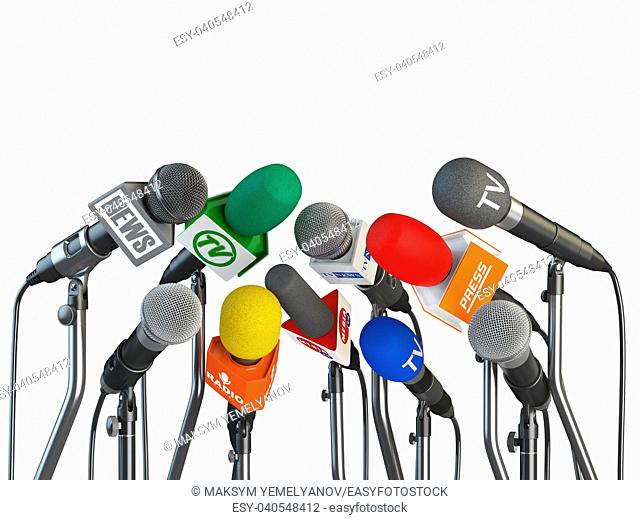 Microphones prepared for press conference or interview isolated on white background. 3d illustration