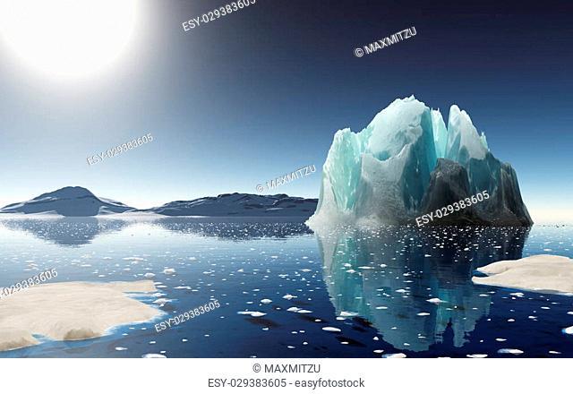 Summer in Antarctica. Beautiful winter background. 3D render