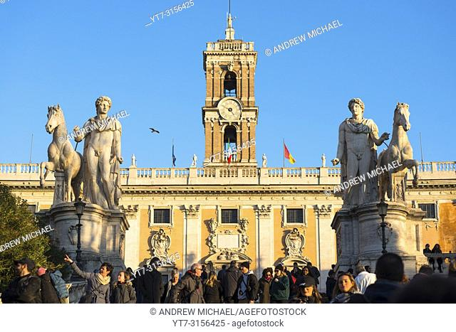 Two dioscuri (Gemini twins - or Castor and Pollux) statues on the Capitoline Hill in Rome