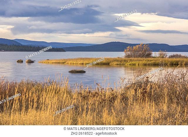 View over Stora lulevatten from Porjus in autumn season, Gällivare, Swedish Lapland, Sweden