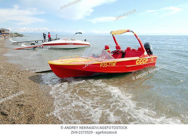 Water taxi with the inscription of the USSR, Listvyanka, Irkutsky District, Irkutsk Oblast, lake Baikal, Siberia, Russian Federation