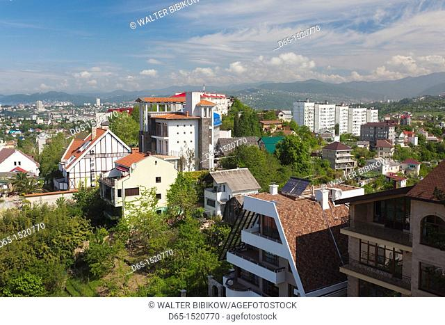 Russia, Black Sea Coast, Sochi, elevated city view from the Arboretum Park