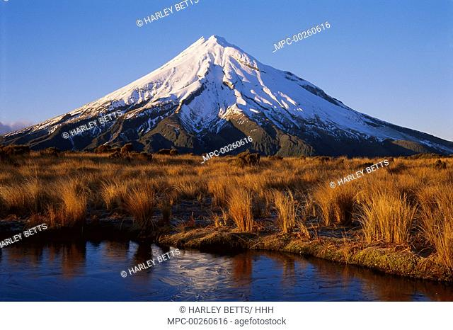 Winter morning, Mt. Taranaki from the Pouakai Range, Egmont National Park, New Zealand
