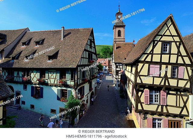 France, Haut Rhin, Riquewihr, labelled Les Plus Beaux Villages de France (The Most Beautiful Villages of France), half-timbered houses and former Notre Dame...