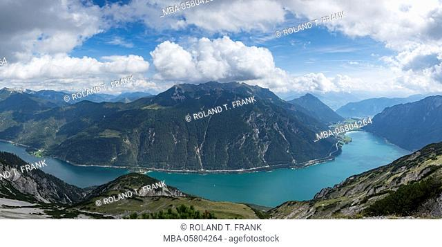 Europe, Austria, Pertisauview from the mountain peak of Seeberg (2085 m) to Lake Achen and 'Rofangebirge', Brandenberg Alps