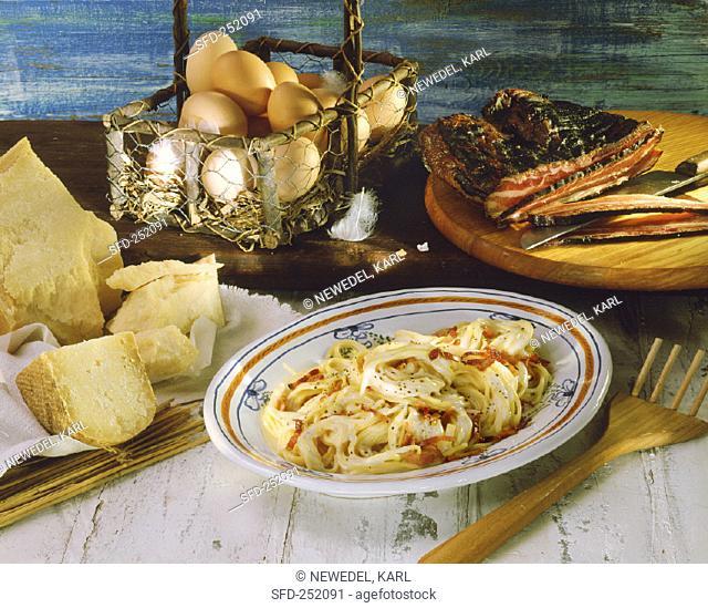 Spaghetti alla carbonara (spaghetti with bacon and egg)
