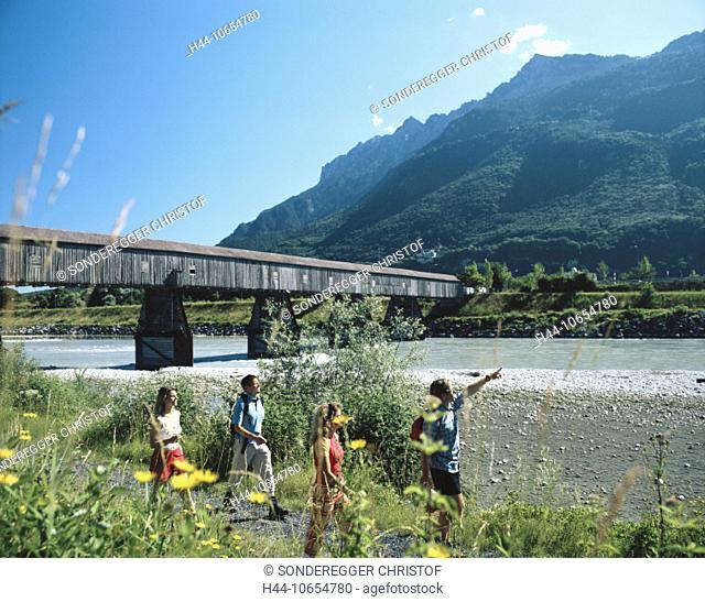 10654780, near Vaduz, mountains, flowers, river, flow, border, group, wooden bridge, Liechtenstein, Rhine, river, flow, Rhine
