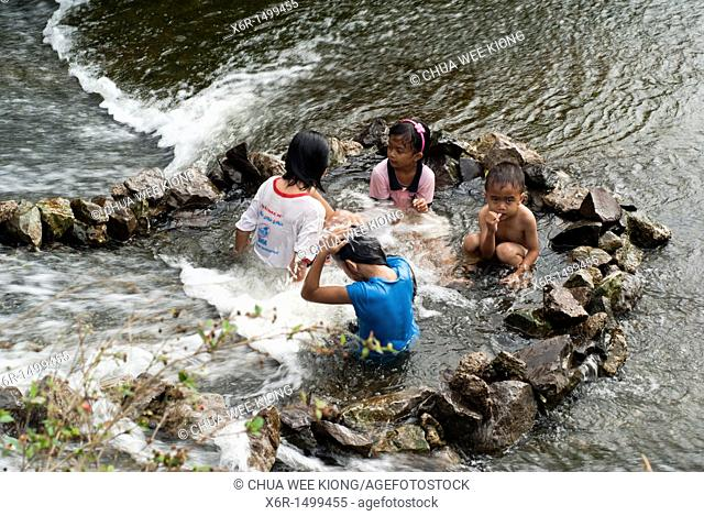 Fun at Waterfall of Kampong Skudup,Kuching, Sarawak, Malaysia