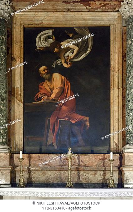 The Inspiration of Saint Matthew by Caravaggio, Chiesa di San Luigi dei Francesi, Rome, Italy